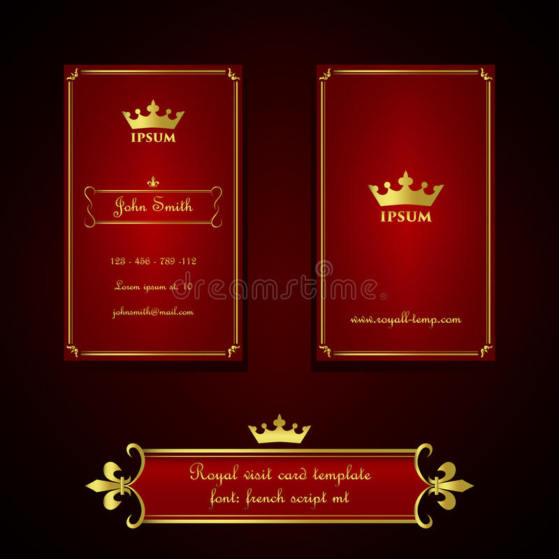 Business card template in royal red and gold style stock vector business or visit card template in royal red and gold gradient style with ornate decorations fleur de lis colourmoves