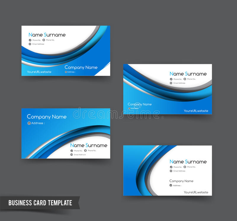 Download Business Card Template Set 50 Blue Curve Element For Modern Bus  Stock Vector   Illustration  Bus Pass Template