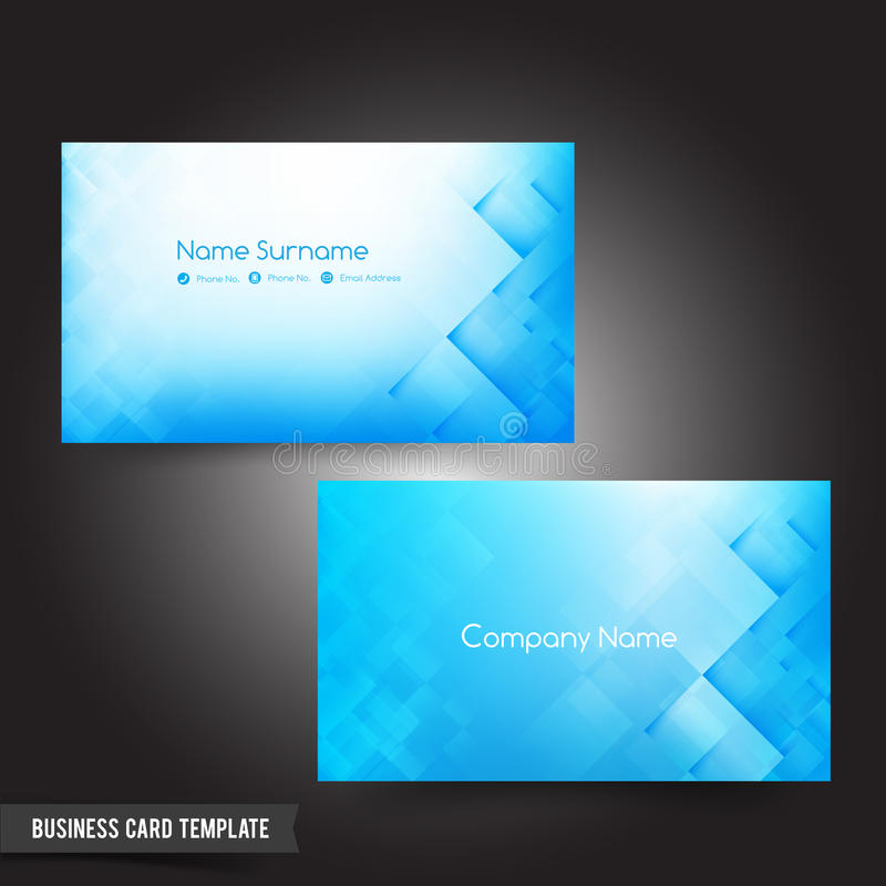 Business Card Template Set 56 Dark Light Blue And Basic Geometry