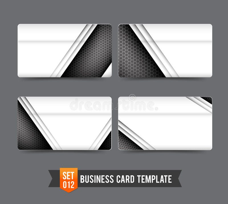 Business Card template set 012 Premium technology metal steel c stock illustration
