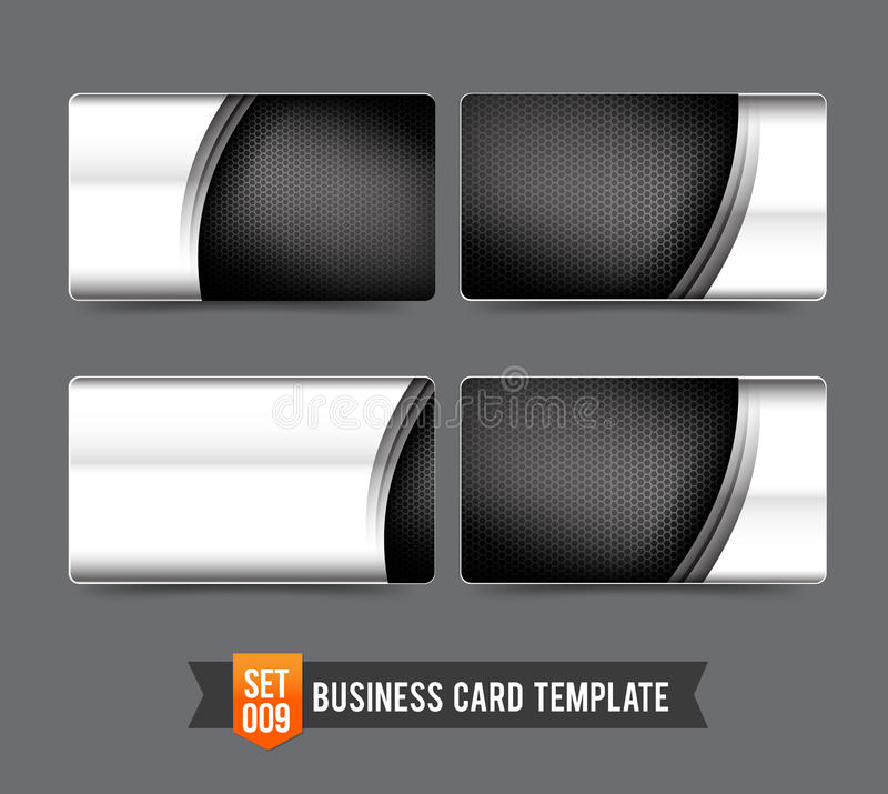 Business Card template set 009 Premium technology metal steel c stock illustration