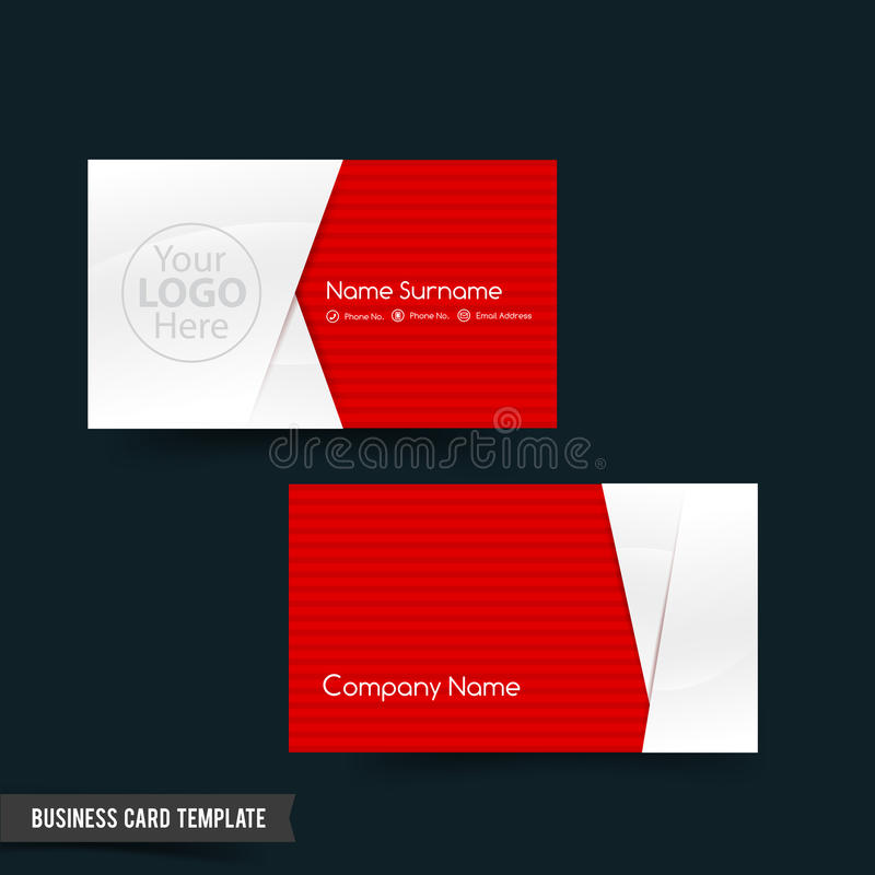 Business Card Template Set Red And White Basic Geometry Eleme - Basic business card template