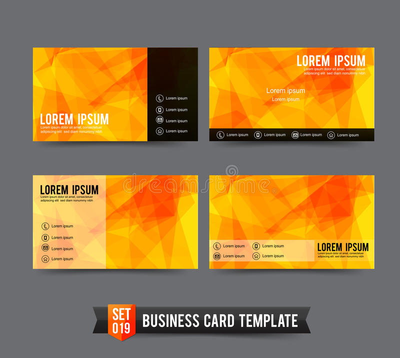 business card template set 019 yellow and orange polygonal back