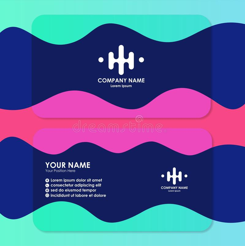Business card template with simple design. Inspiration stock illustration