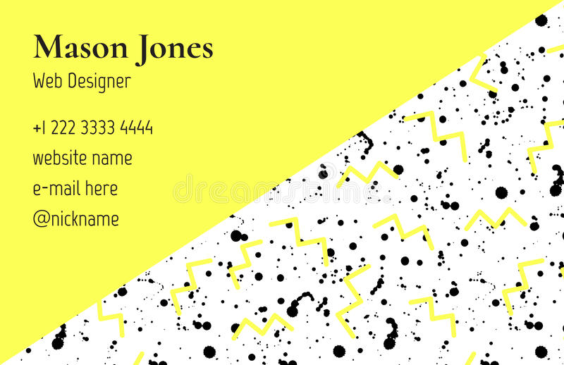 Business card template in the style of Memphis stock illustration
