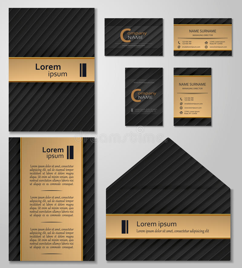 Business Card Template Vcard Set Black And Gold Style Stock Vector ...