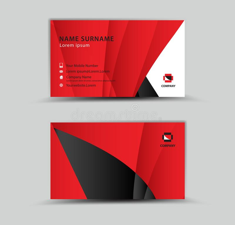 Business Card Vector template, Creative idea modern concept, red polygon background. Geometric shape royalty free illustration