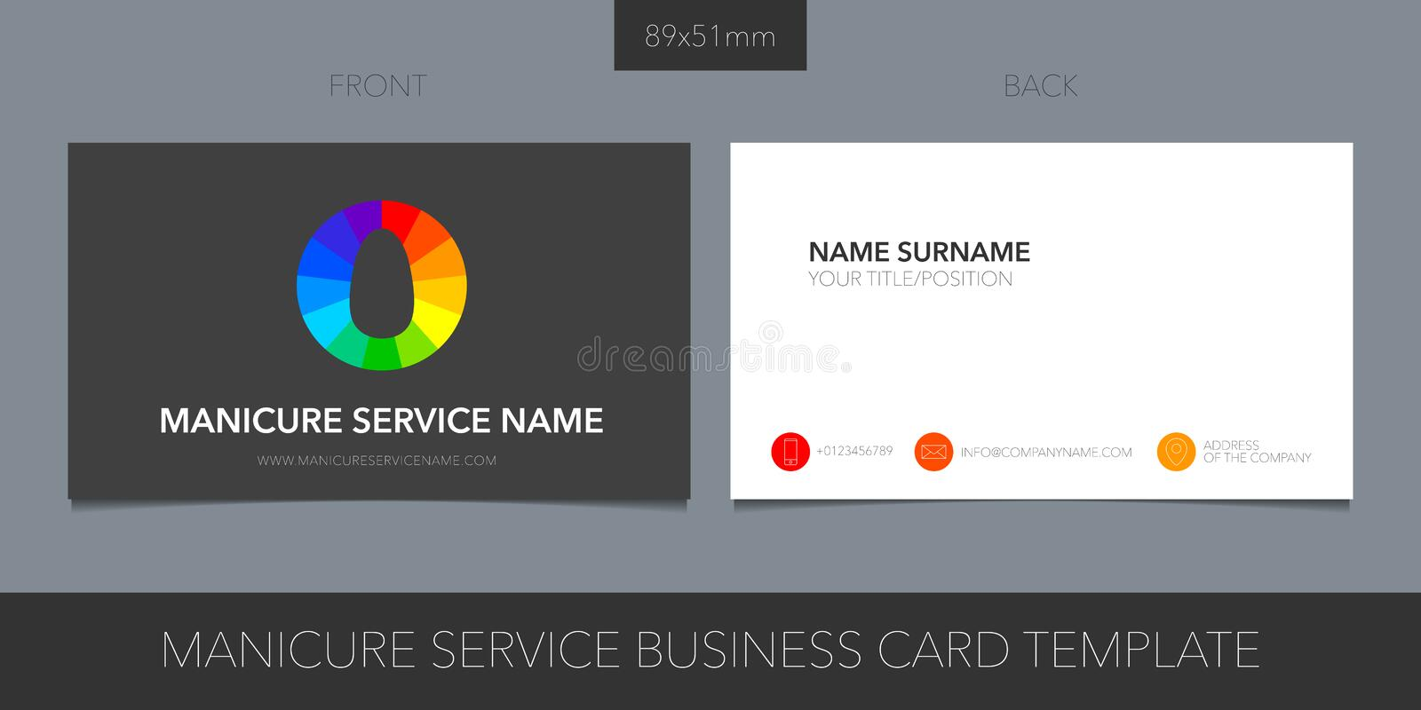 Business card template vector layout for nails business vector illustration
