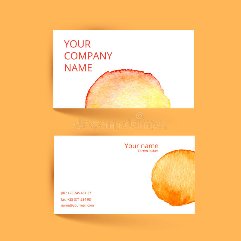 Business Card Template. Vector Watercolor Orange Stock Vector ...