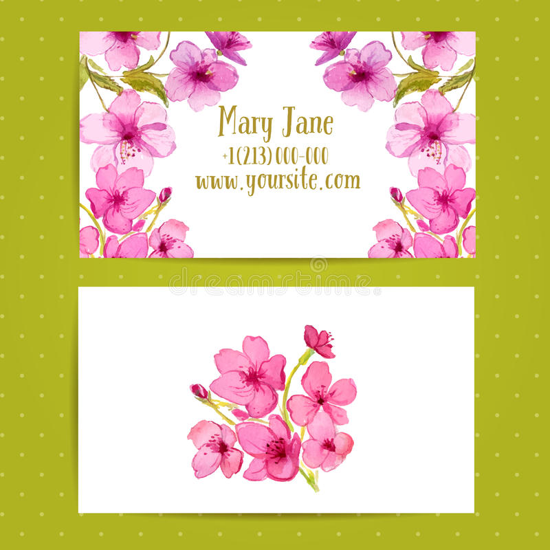Business card template with watercolor flowers of vector illustration