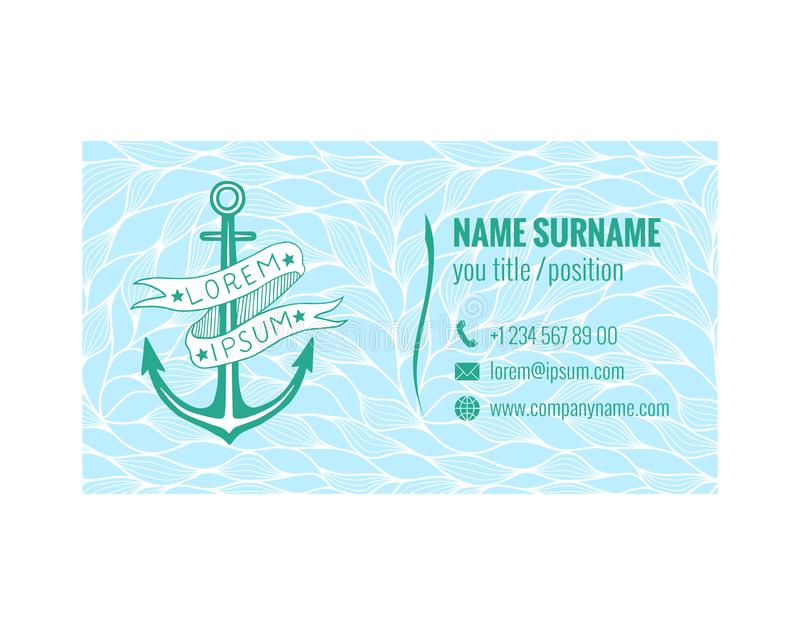 Business card template for yacht club sea transport or travel download business card template for yacht club sea transport or travel agency nautical design reheart Gallery