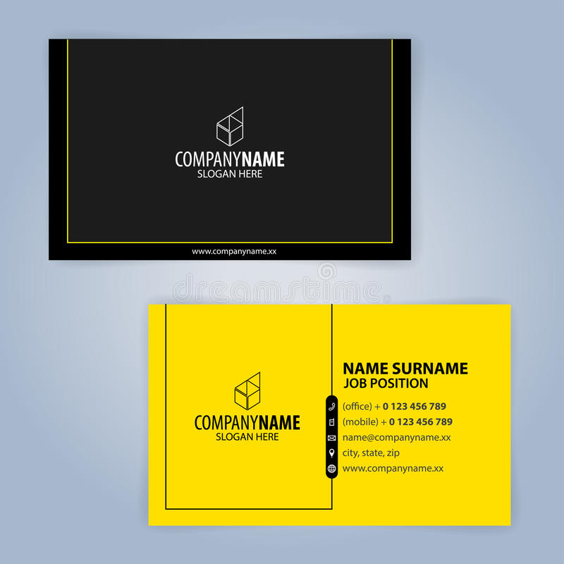 Business Card Template. Yellow And Black Stock Vector - Illustration ...