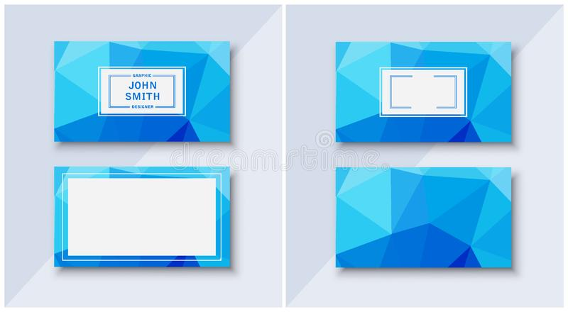 Business card templates blue businesslike. With abstract pattern background royalty free illustration