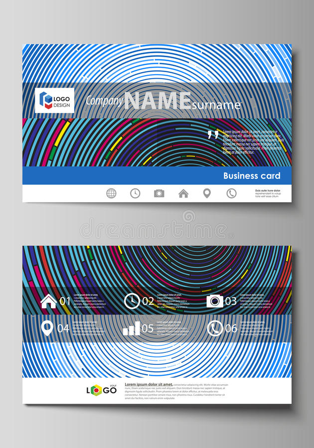Business card templates. Easy editable layout, abstract vector design template. Blue color background in minimalist style made from colorful circles stock illustration