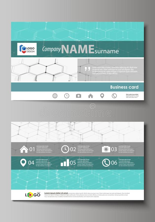 Business card templates. Easy editable layout, abstract vector design template. Chemistry pattern, hexagonal molecule royalty free illustration