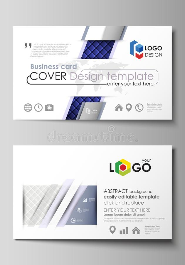 Business card templates. Easy editable layout, abstract vector design template. Shiny fabric, rippled texture, white and. Blue silk, colorful vintage style stock illustration