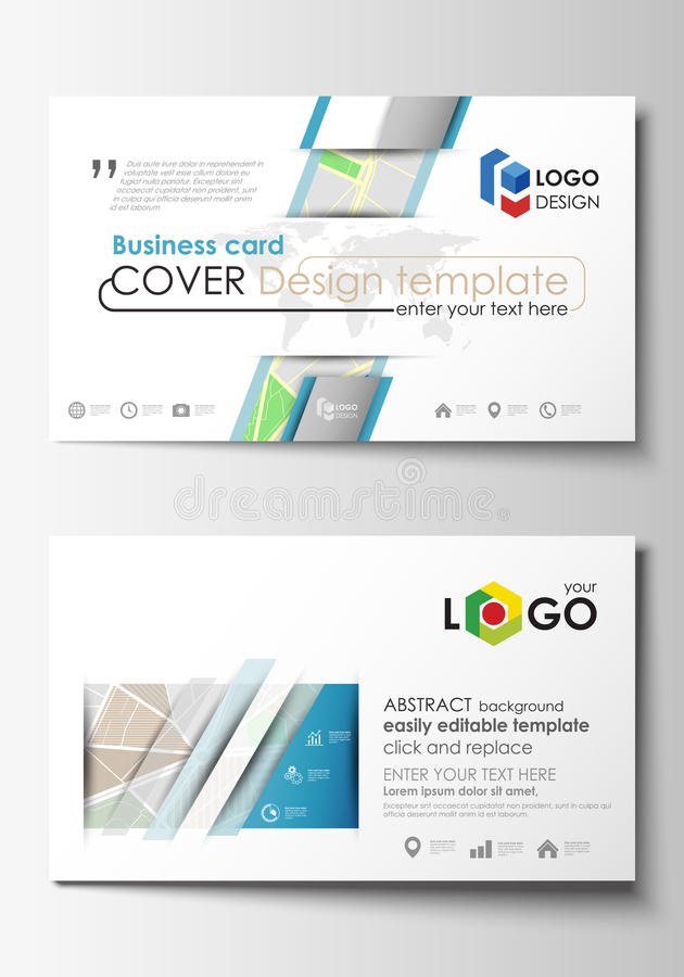 Business card templates. Easy editable layout. City map with streets. Flat design template for tourism businesses. Business card templates. Easy editable layout vector illustration