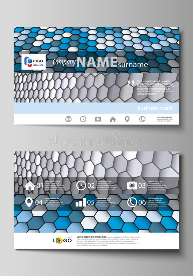 Business card templates. Easy editable layout, vector template. Business card templates. Easy editable layout, abstract vector design template. Blue and gray royalty free illustration