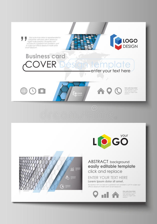 Business card templates. Easy editable layout, vector template. Blue and gray color hexagons in perspective. Abstract royalty free illustration