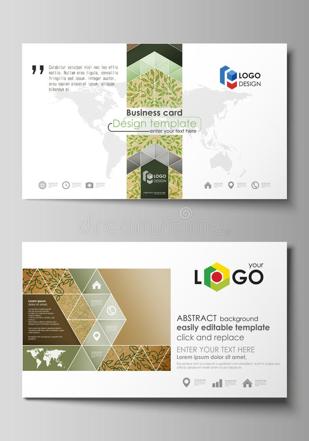 Business card templates. Easy editable layouts, vector template. Business card templates. Easy editable layout, abstract vector design template. Abstract green royalty free illustration