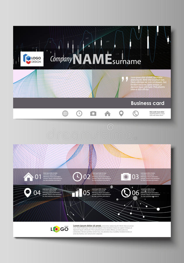 Business card templates. Easy editable vector layout. Colorful abstract design infographic background in minimalist royalty free illustration