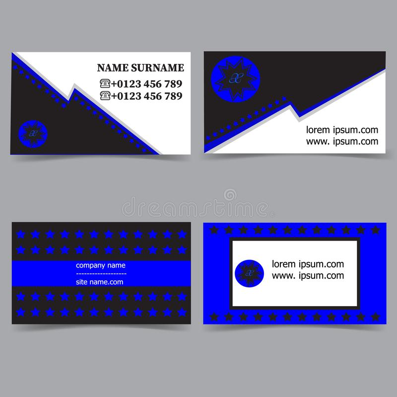 Business card templates. Stationery design vector set. Blue, white and black colors. Flat style vector illustration royalty free illustration