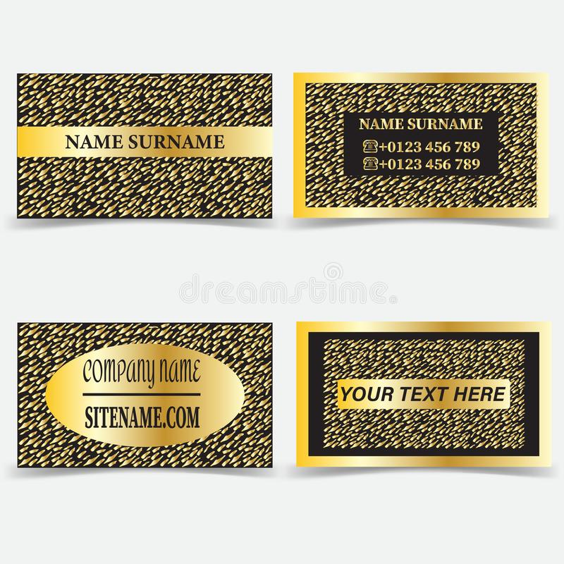 Business card templates. Stationery design vector set. Gold and black royalty free illustration