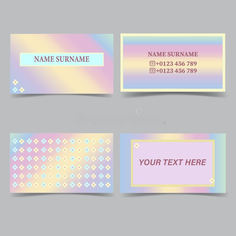 Business card templates. Stationery design vector set. Pastel colors. Flat style vector illustration stock illustration