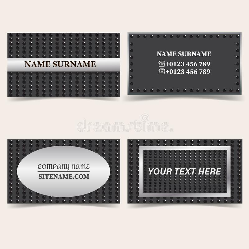 Business card templates. Stationery design vector set. Silver, metal and black vector illustration