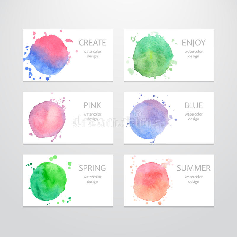 Business card templates with watercolor design in stock illustration