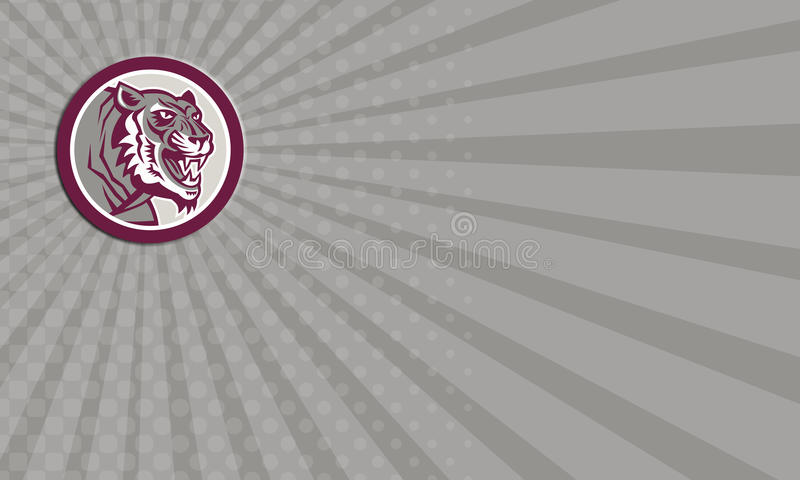 Business Card Tiger Head Growling Side Circle Retro royalty free illustration