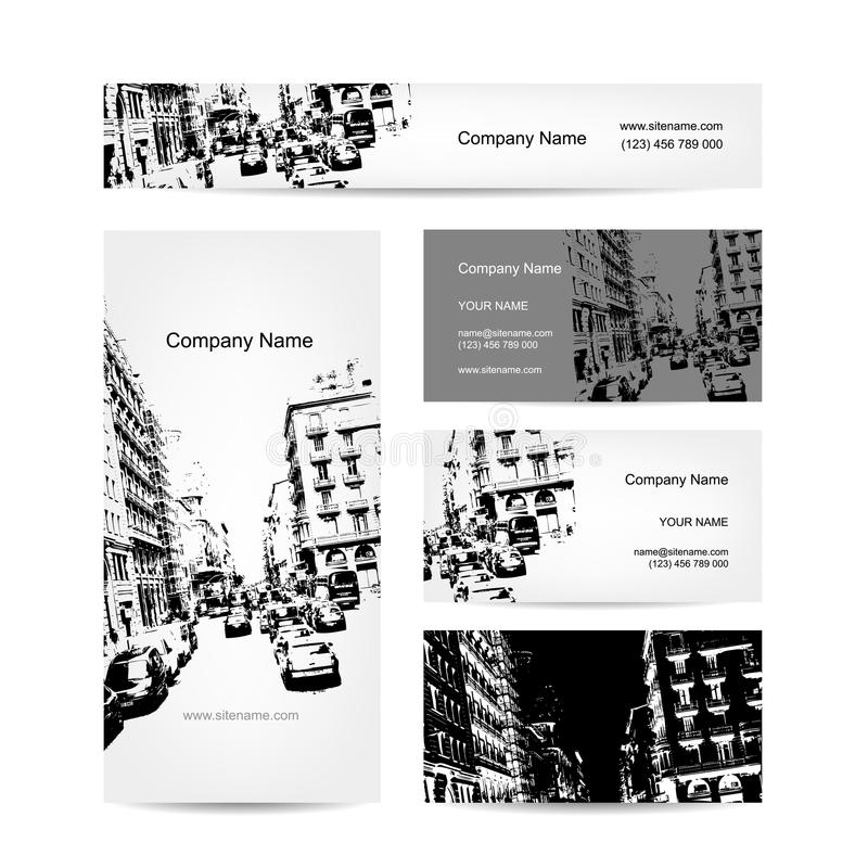 Business card, urban design. Street of Barcelona royalty free illustration