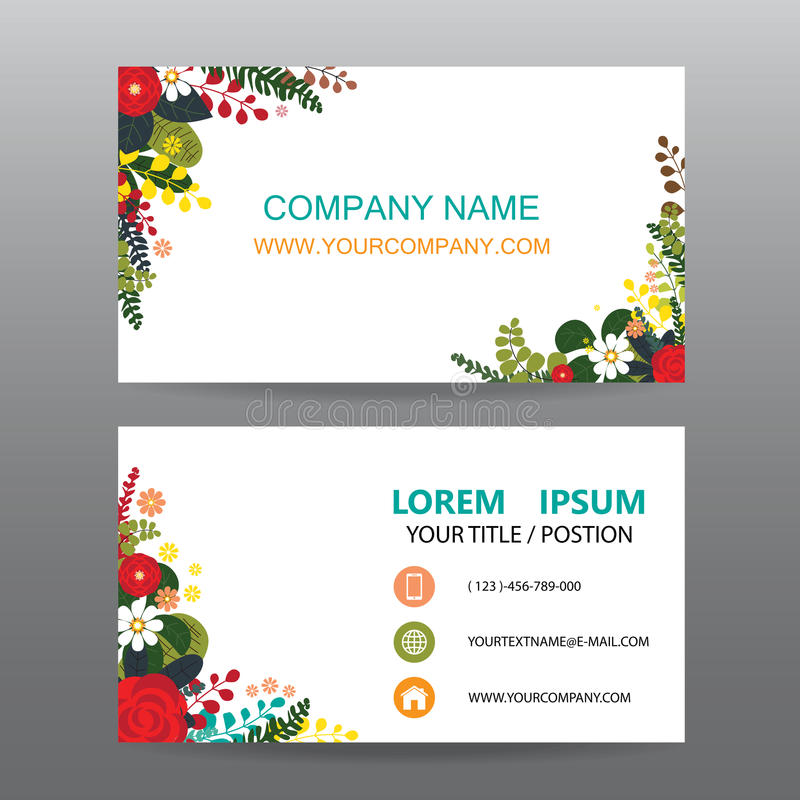 Business Card Vector Background,Decorated With Flowers Frame Stock ...