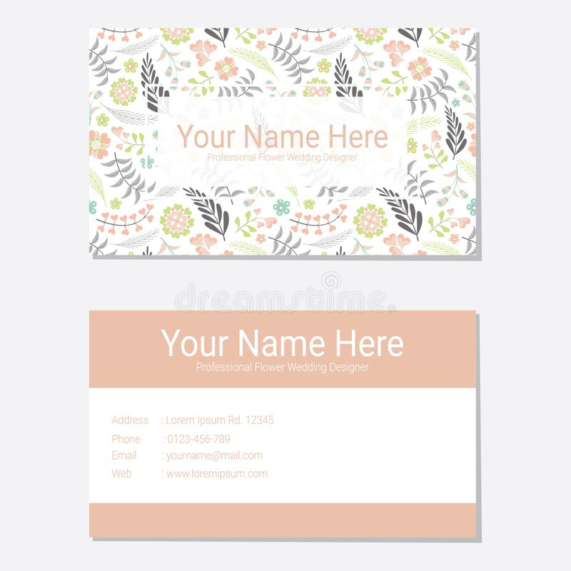 Business card vector design template with pink flower background vector illustration