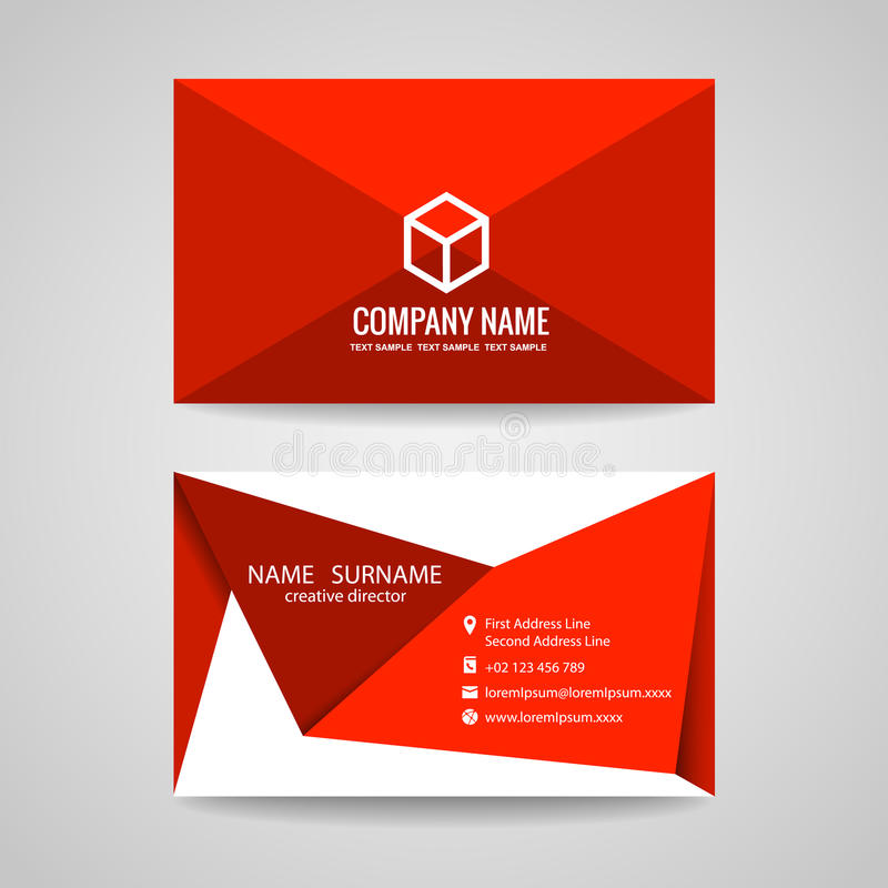 Business Card Vector Graphic Design , Red Triangle Fold And Box ...