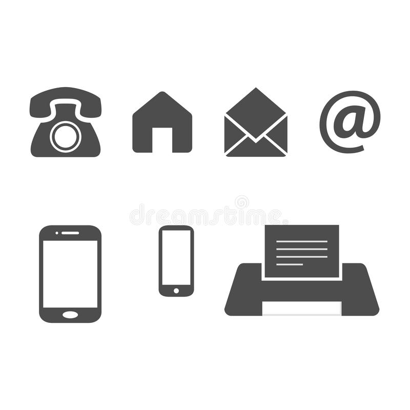 Flat design business card vector icons template. Business card vector icons, home and phone, address and telephone, fax and web, location symbols. Contact of vector illustration