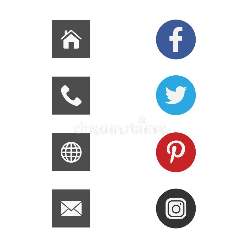 Flat design business card vector icons template. Business card vector icons, home and phone, address and telephone, fax and web, location symbols. Contact of stock illustration