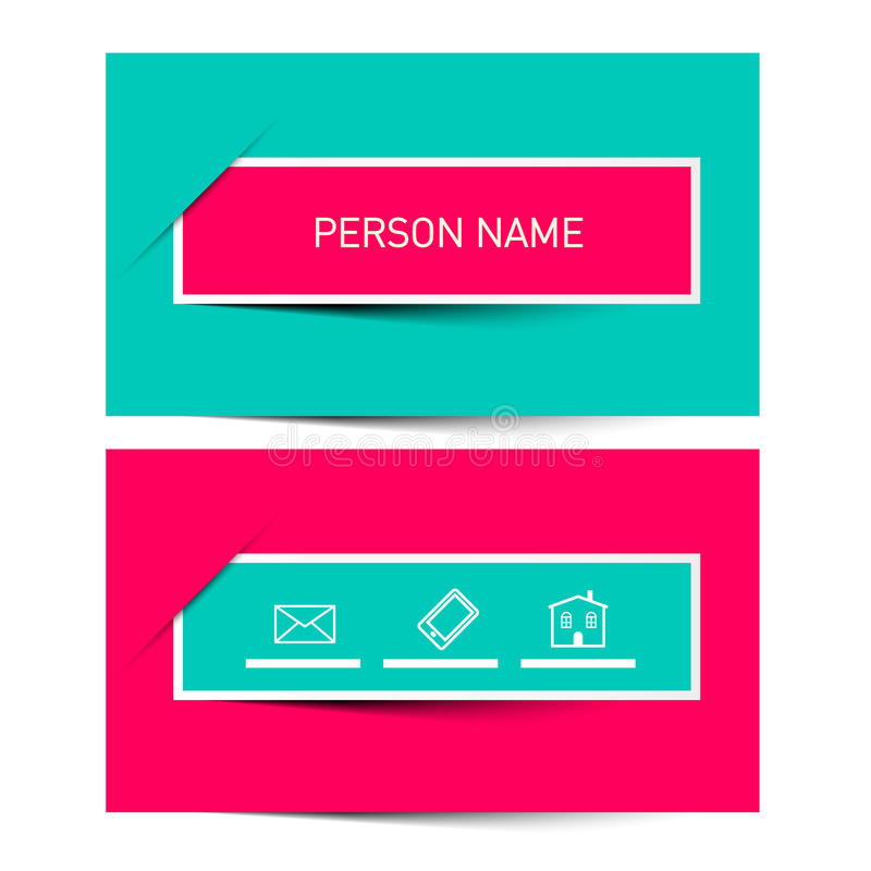 Business Card Vector Retro Simple Layout stock illustration