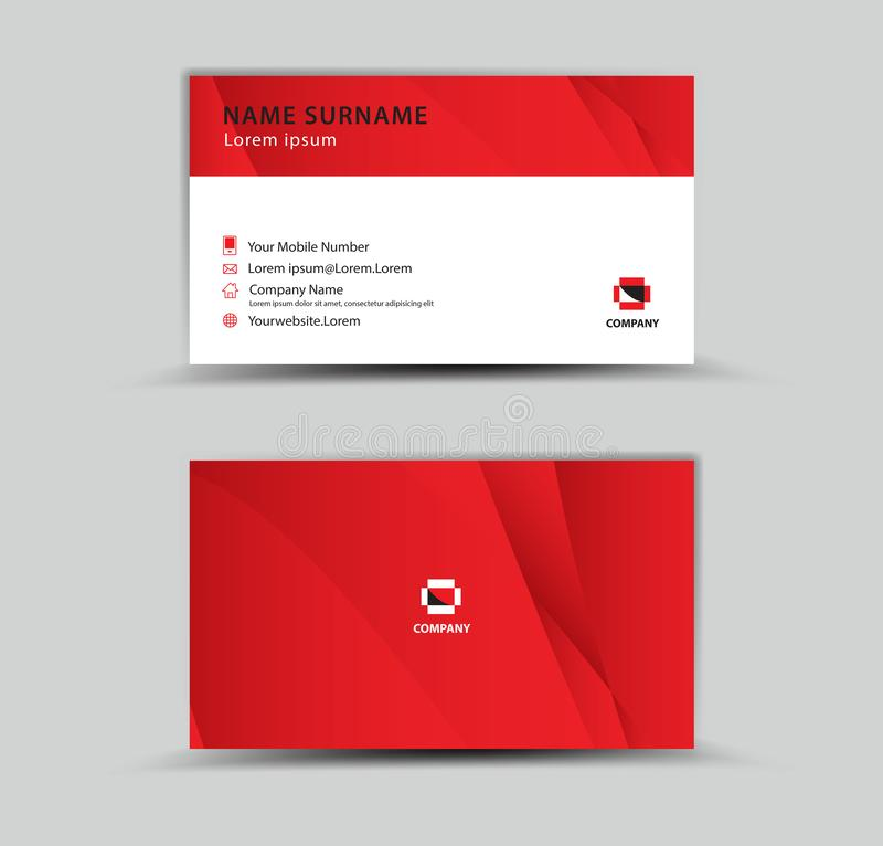 Business Card Vector template, Creative idea modern concept, red polygon background stock illustration