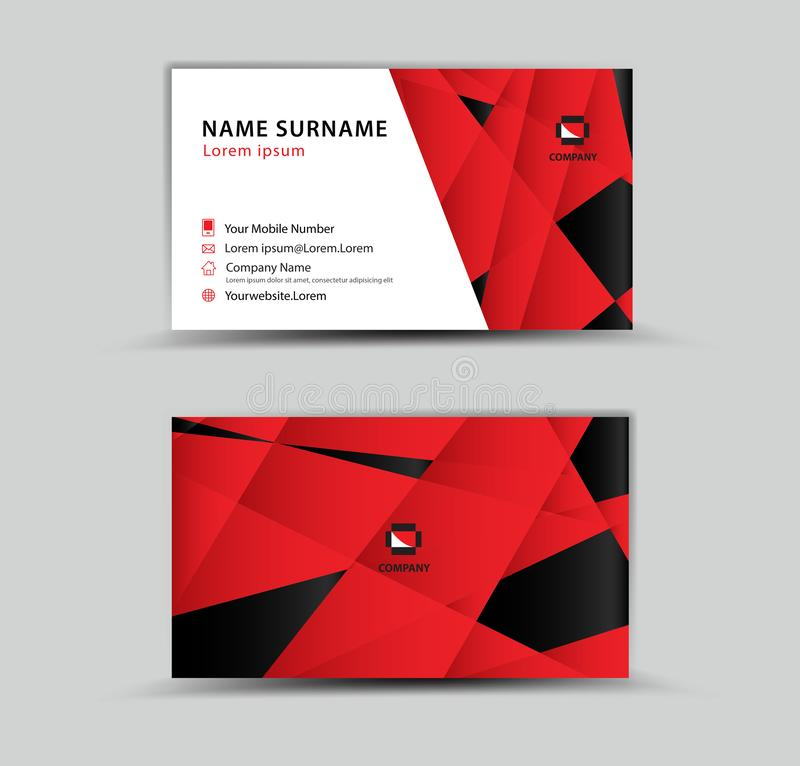 Business Card Vector template, Creative idea modern concept, red polygon background vector illustration