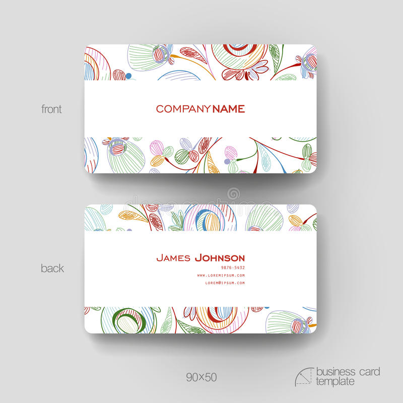 Business Card Vector Template With Floral Abstract Background ...