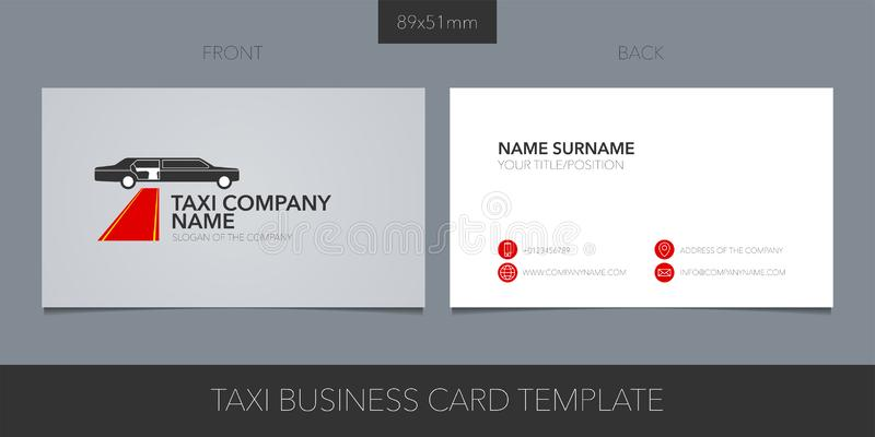 Business card vector template layout design for VIP taxi, limo cab service vector illustration