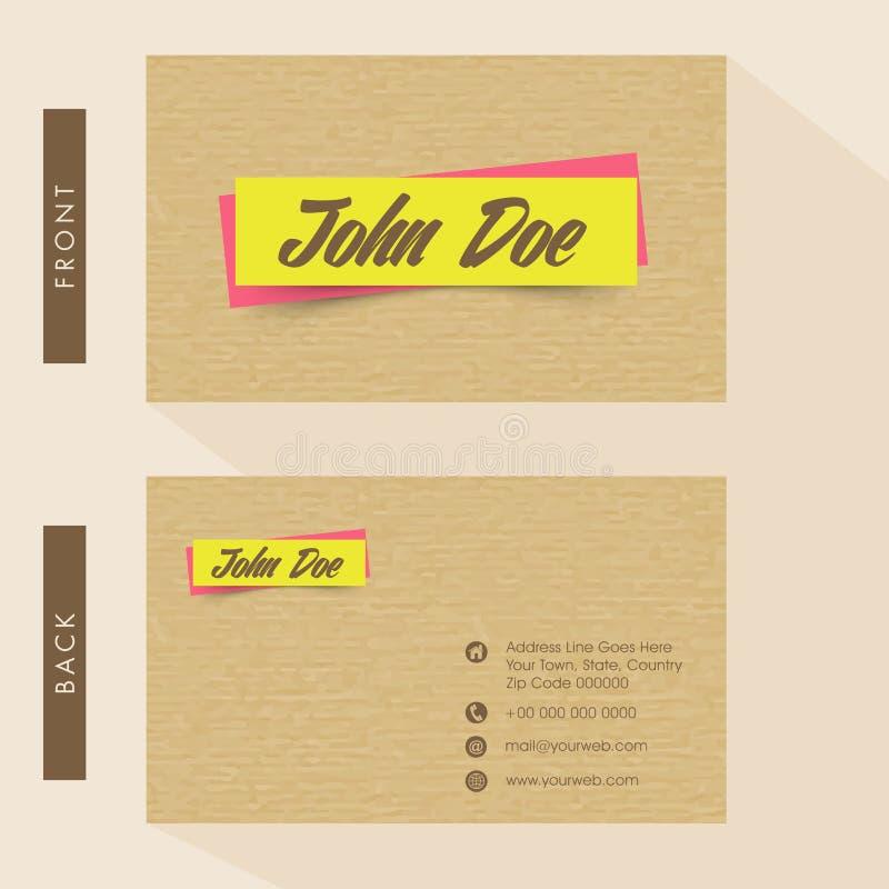 Business Card Or Visiting Card Design. Stock Illustration ...