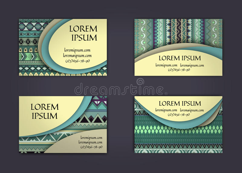 Business card or visiting card template with boho style pattern background.corporate identity design. Flyer Layout. Business card or visiting card template with vector illustration