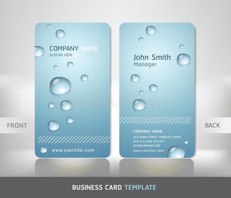 Business Card With Water Drop. Stock Vector - Illustration of ...