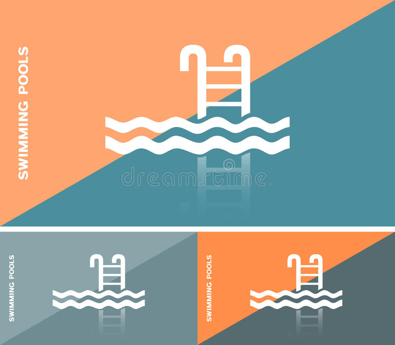 Business Card Or Web Banner With Swimming Pool Icon Stock Vector ...
