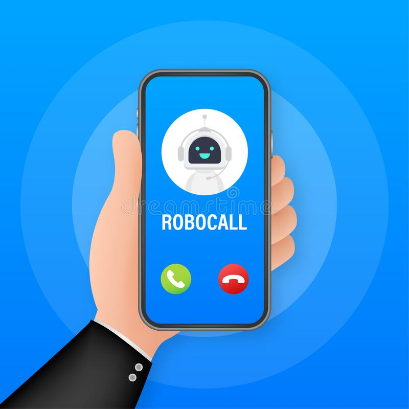 Free Business Card With Robo Call. Mobile Phone. Robo Call. Cpam. Vector Stock Illustration Royalty Free Stock Image - 180182416