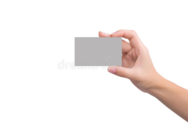 Business card in womens hand royalty free stock image