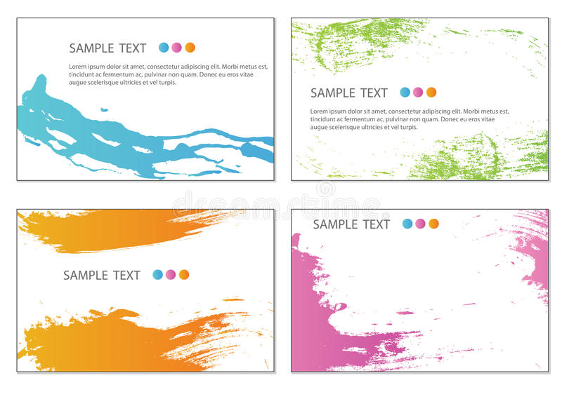 Business cards. Set of colorful grunge business cards stock illustration