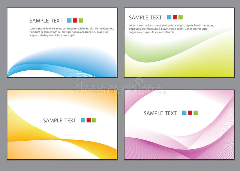 Business cards. Set of colorful wavy business cards royalty free illustration